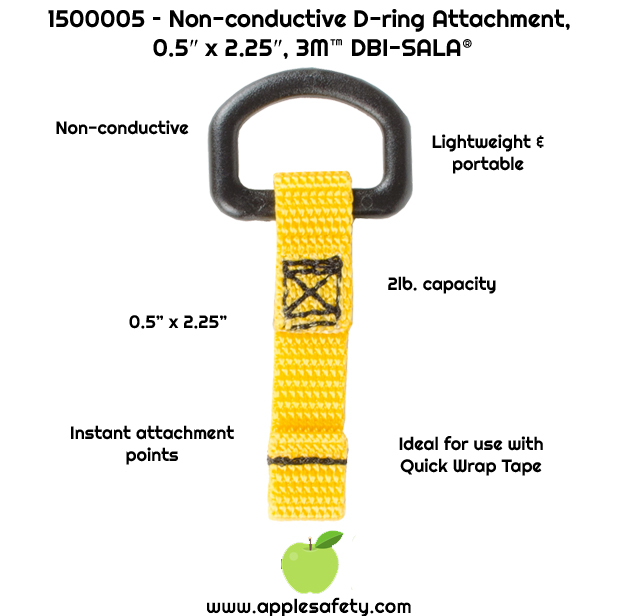 "Creates instant attachment points     Non-conductive attachment point     0.5"" in x 2.25 in. (1.27 cm x 5.71 cm) D-Ring attachment point     2 lb. (0.9 kg) capacity     Use our Quick-Wrap Tape II to attach D-ring to your tool     Meets ANSI / ISEA 121-2018"
