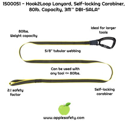 1500051 LNYD,TOOL,HD,SGL,80LBHOOK TO LOOP Hook2loop lanyard - heavy duty - 80 lb. capacity DROPPED OBJECTS