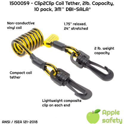 3M™ DBI-SALA® Clip2Clip Coil Tool Tether 1500059, 10 EA/Pack, Clip2clip coil tether non-conductive -2 lb. capacity - (10 Pack)