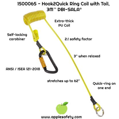 1500065 TETHER,COIL,H2QR,SGL,2LBHOOK TO Q-RING Hook2quick Ring coil tether with tail - 2 lb. capacity
