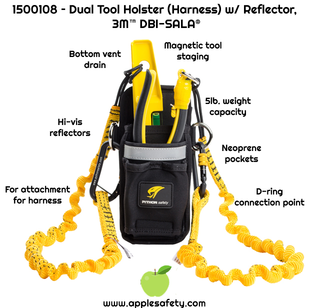 Neoprene pockets fit optional retractors     Bottom drain vent     High Visibility Reflectors     Magnetic tool staging system holds tools in place     D-ring connection points for your tether have a 5 lb. (2.3 kg) capacity     For attachment to harness     Meets ANSI / ISEA 121-2018