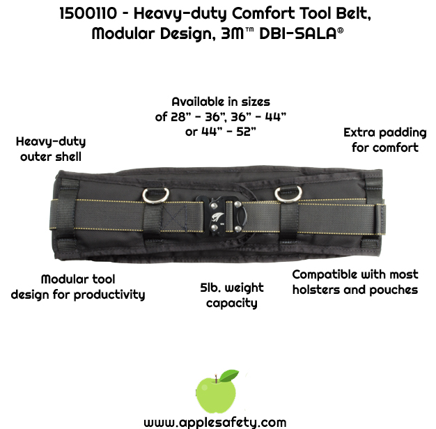 Modular design for tool carrying flexibility     Unique design that provides both strength and comfort     Extra padding for comfort     Third party certified to a 5 lb. (2.3 kg) maximum capacity     Fits 28-36 in. (71-91 cm) waist size