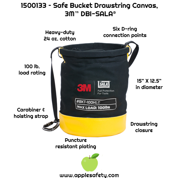 Heavy-duty 24 oz. cotton duck canvas     Innovative drawstring closure system     Carabiner and hoisting strap     Six built in connection points for tethering tools with 10 lb. (4.5 kg) load rating each     Puncture resistant plating sewn into the base of the bucket     100 lb. (45.4 kg) load rating     15 in. height x 12.5 in diameter (38 cm x 31.75 cm)