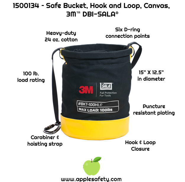 Heavy-duty 24 oz. cotton duck canvas     Innovative hook and loop closure system     Carabiner and hoisting strap     Six built in connection points for tethering tools with 10 lb. (4.5 kg) load rating each     Puncture resistant plating sewn into the base of the bucket     100 lb. (45.4 kg) load rating     15 in. height x 12.5 in diameter (38 cm x 31.75 cm)