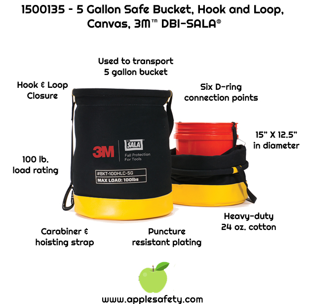 Used to transport a standard plastic 5 gallon bucket     Heavy-duty 24 oz. cotton duck canvas     Innovative hook and loop closure system helps ensure no accidental spills during lifting and transportation     Carabiner and hoisting strap     Puncture resistant plating sewn into the base of the bucket     100 lb. (45.5 kg) load rating     When not being used, it can be flattened for easy storage