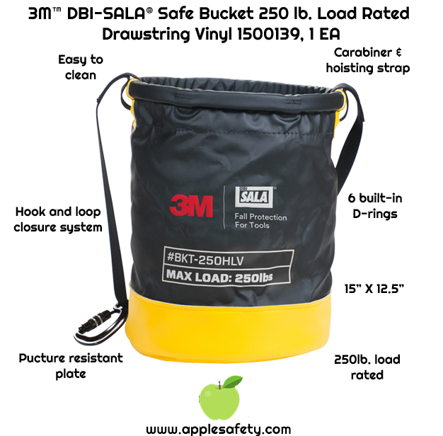 Heavy-duty vinyl is easy to clean     Innovative drawstring closure system     Carabiner and hoisting strap     Six built in connection points for tethering tools with 10 lb. (4.5 kg) load rating each     Puncture resistant plating sewn into the base of the bucket     250 lb. (113.4 kg) load rating     15 in. height x 12.5 in diameter (38 cm x 31.75 cm)