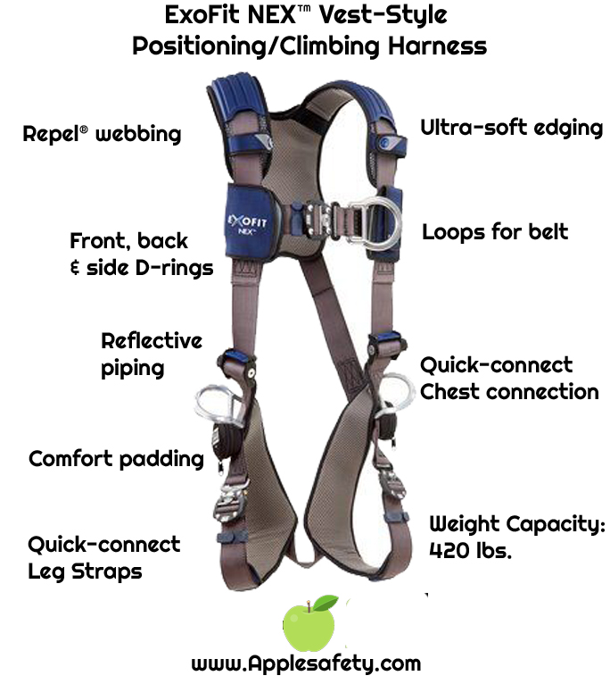 3M™ DBI-SALA® ExoFit NEX™ Vest-Style Positioning/Climbing Harness, Aluminum front, back & side D-rings, locking quick connect buckles, 1113076 1113079 1113082 1113085, front chart