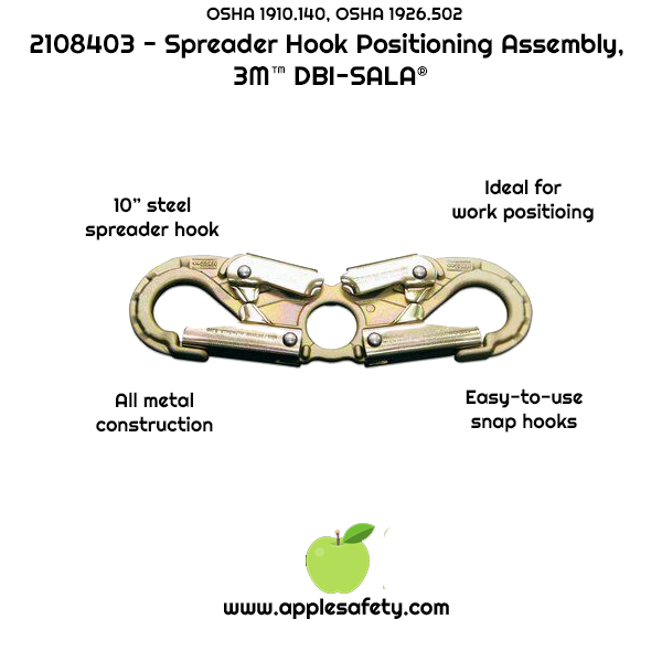 "2108403 - Steel spreader hook, self closing/locking (3/4"" opening), front, chart, applesafety"