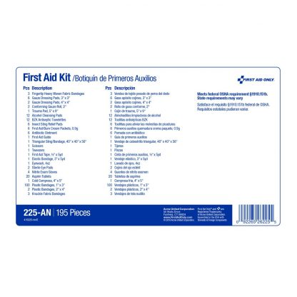 225-U/FAO - First Aid Only, 50 Person First Aid Kit, Plastic Case with Dividers, measure guide label