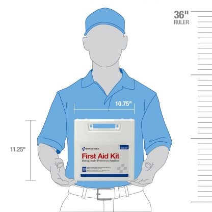 225-U/FAO - First Aid Only, 50 Person First Aid Kit, Plastic Case with Dividers, measure guide