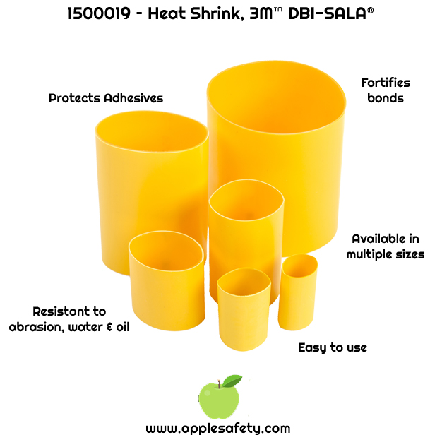 Protects 3M™ DBI-SALA® Quick-Wrap Tape II from abrasives and harsh work environments     Apply heat to shrink to secure quickly     Heat shrink links reduce in size by 200% when heat is applied     0.75 in. x 1.75 in. in size (1.9 cm x 4.5 cm)