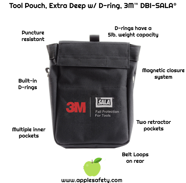 Tool pouch is 8.75 in. wide x 13 in. high (22.2 cm x 33 cm) and has multiple inner pockets     Belt loops provided on rear of pouch     Two internal retractor pockets, allowing 3M™ DBI-SALA® Steel Cable Retractors to be installed     Made from 18 oz. duck canvas with inner lining to help prevent punctures     Inside the pouch are two retractor pockets, allowing 3M™ DBI-SALA® Steel Cable Retractors to be installed.     Integrated D-rings load-rated for 5 lbs. (2.3 kg) makes tethering tools easy