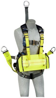 "ExoFit NEX™ Oil and Gas Positioning/Climbing Harness, TB/PT, 18"" extension, derrick attachments, hip pad & belt and SOFT seat sling, use with1000570 derrick belt, 1113290 1113291 1113292 1113293, front derrick front"