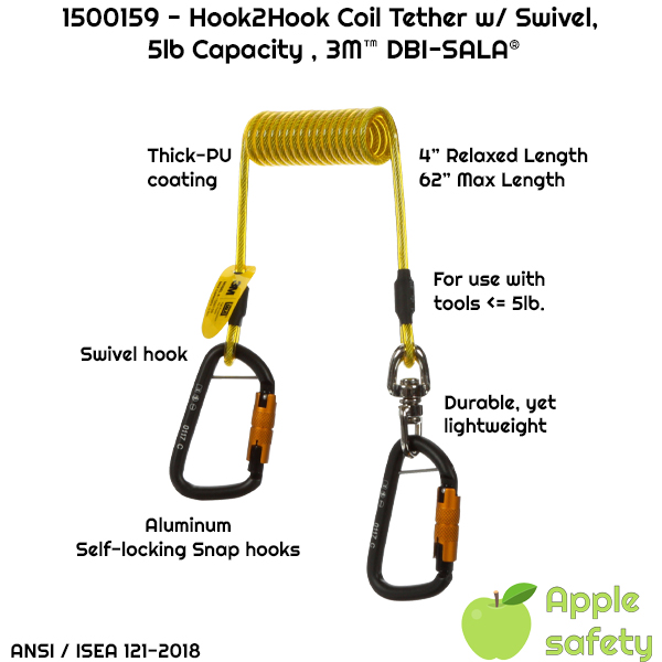 1500159 - Hook2Hook Coil Tether w/ Swivel, 5lb Capacity , 3M™ DBI-SALA®,
