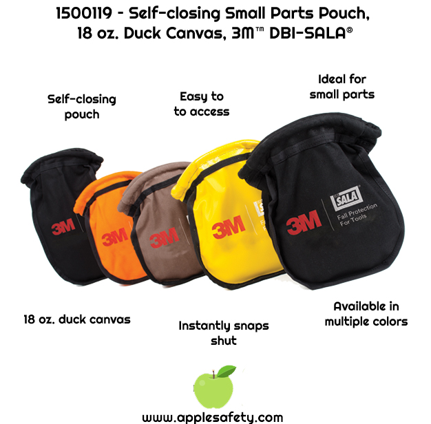 Small parts pouch is ideal for nuts, bolts, screws, nails and can be used from a belt or harness     Innovative self-closure system traps objects inside, making it nearly impossible for them to fall out     Easy to retrieve objects since no opening or closing is necessary     Made from 18 oz. duck canvas     Meets ANSI / ISEA 121-2018