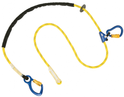 1234080 - 8 ft. (2.4m) adjustable rope positioning lanyard with aluminum carabiner at one end, rope adjuster and aluminum carabiner at other end.