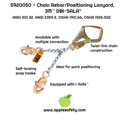 """20.5"""" (52cm) chain rebar assembly with swiveling steel rebar hook at center, snap hooks at leg ends, applesafety chart"""