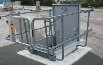 HSF-4848M, HSF-4866M, HSF-4884M, HSF-5448M, HSF-5466M, HSF-5484M, , Hatchsafe® full perimeter roof hatch railing system in use 6