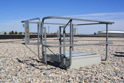 HSF-4848M, HSF-4866M, HSF-4884M, HSF-5448M, HSF-5466M, HSF-5484M, , Hatchsafe® full perimeter roof hatch railing system in use 1