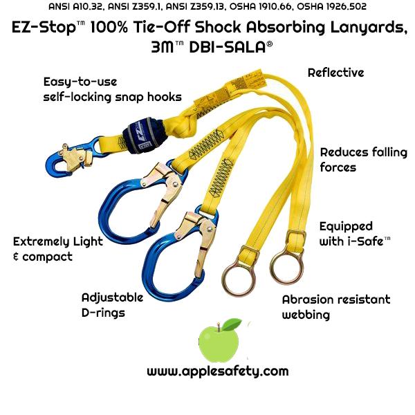 1246070 1246071 1246072, DBI-SALA® EZ-Stop™ Tie-Back 100% Tie-Off Shock Absorbing Lanyard