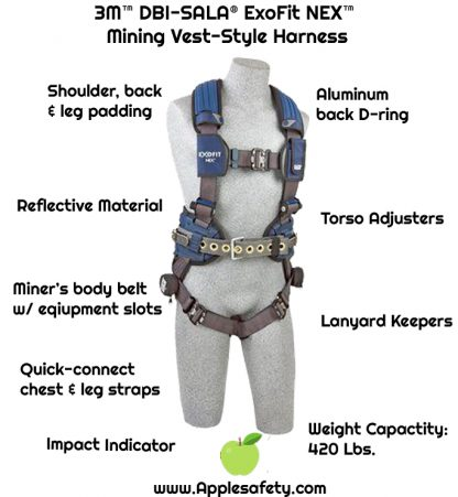 3M™ DBI-SALA® ExoFit NEX™ Mining Vest-Style Harness, Aluminum back & side D-rings, locking quick connect buckles, sewn in hip pad & belt, lumbar protection, 1113195 1113196 1113197 1113199, front chart 2