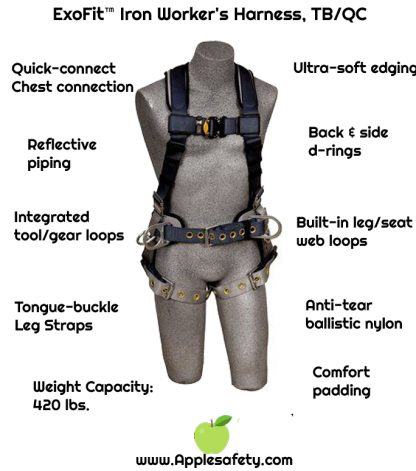 ExoFit™ Iron Worker's Harness, TB/QC, Vest style, back D-ring, sewn in back pad & belt with side D-rings, reinforced seat straps, tongue buckle legs, 1100530 1100531 1100532 1100533, chart