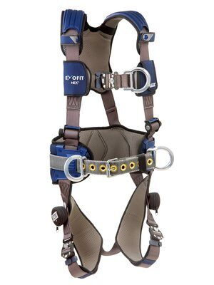 ExoFit NEX™ Construction Style Positioning/Climbing Harness, 1113151 1113154 1113157 1113160, Aluminum front, back & side D-rings, locking quick connect buckles with sewn in hip pad & belt, front