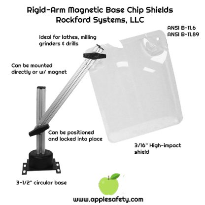 "Rigid-Arm Magnetic Base Chip Shields Rockford Systems, LLC, Ideal for lathes, milling, grinders and drills Attached with a 80-lb holding force magnet Plastic handles are used for positioning and locking 3/16"" high-impact shield 3-1/2"" circular base 3-½"" x 4-⅝"" Mounting plate included for direct mount ANSI B-11.6, ANSI B-11.89"