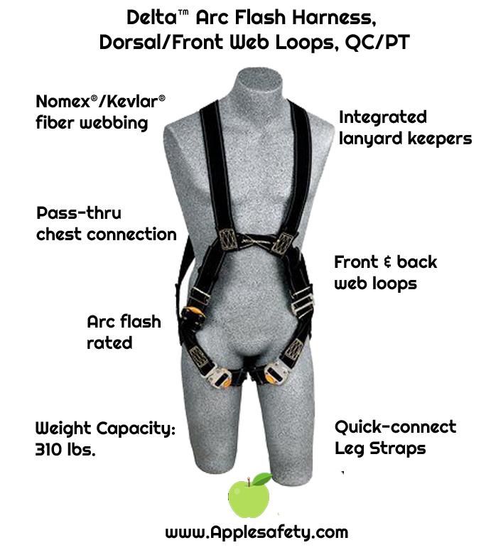 Delta™ Arc Flash Harness, Dorsal/Front Web Loops, QC/PT, Nomex® / Kevlar® fiber webbing, no metal above the waist, front & back web loop, quick connect buckle legs, leather insulators, 1110810 1110811 1110812 1110815, front, chart