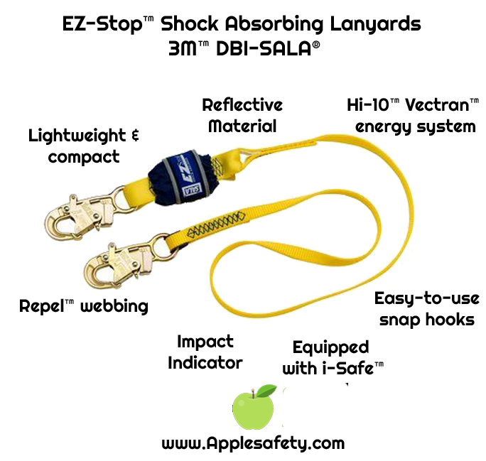 EZ-Stop™ Shock Absorbing Lanyards - 3M™ DBI-SALA®, Extremely lightweight and compact design  Hi-10™ Vectran™ energy absorption technology  Abrasion resistant Repel™ webbing  Easy-to-use self locking snap hooks  Reflective materials  Impact indicator  Equipped with i-Safe™