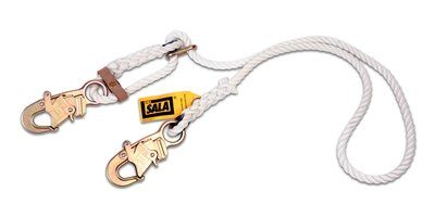 1232209 1232210, 6 ft. (1.8m) adjustable nylon rope single-leg with snap hooks at each end, Rope Adjustable Positioning Lanyard