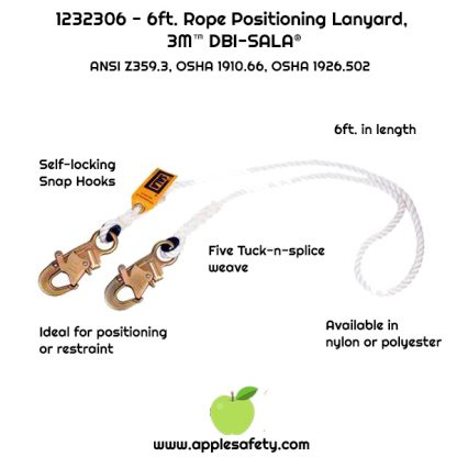 1232306 - 6 ft. (1.8m) polyester rope single-leg with snap hooks at each end, applesafety.com chart