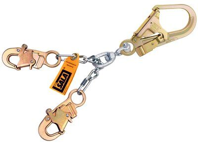 """5920050 - Chain Rebar/Positioning Lanyard, 20.5"""" (52cm) chain rebar assembly with swiveling steel rebar hook at center, snap hooks at leg ends"""