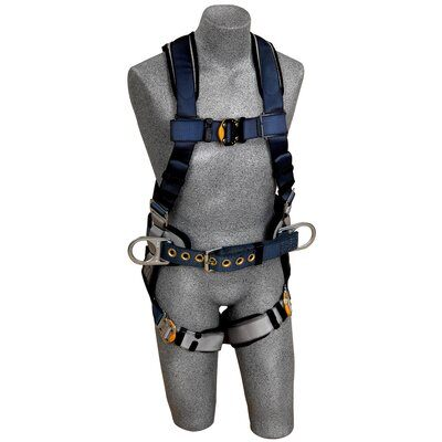 ExoFit™ Construction Style Positioning Harness, QC/QC, Back D-ring, sewn-in back pad & belt with side D-rings, quick-connect buckles, 1108500 1108501 1108502 1108507, front 2