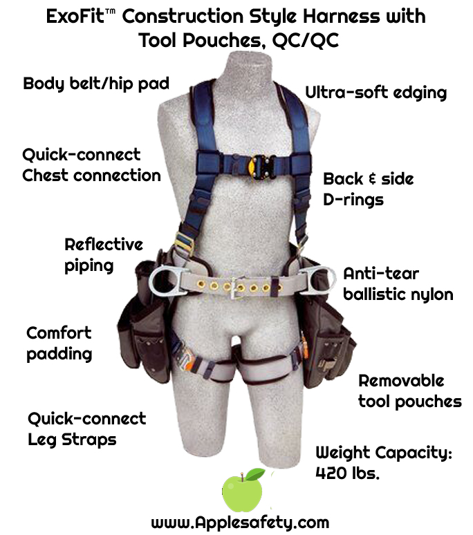 ExoFit™ Construction Style Harness with Tool Pouches, Back D-ring, sewn-in back pad & belt with side D-rings, quick-connect buckles, attached 9504066 & 9504072 tool pouches, 1108516 1108517 1108518 1108519, chart