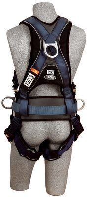 ExoFit™ Construction Style Positioning Harness, QC/QC, Back D-ring, sewn-in back pad & belt with side D-rings, quick-connect buckles, 1108500 1108501 1108502 1108507, rear