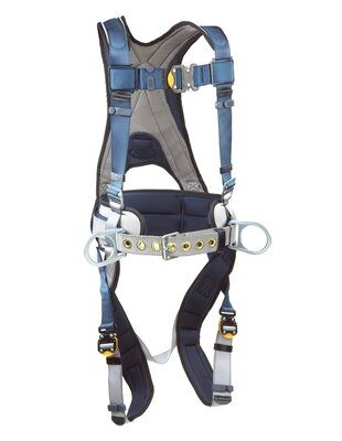ExoFit™ Construction Style Positioning Harness, QC/QC, Back D-ring, sewn-in back pad & belt with side D-rings, quick-connect buckles, 1108500 1108501 1108502 1108507, front