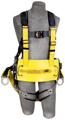 "3M™ DBI-SALA® ExoFit™ Derrick Harness, Vest style, back D-ring with 18"" extension, belt with back pad & back D-ring, soft seat sling with positioning D-rings, tongue buckle connections at shoulder for 1000570 derrick belt, 1100300 1100301 1100302 1100303, front"