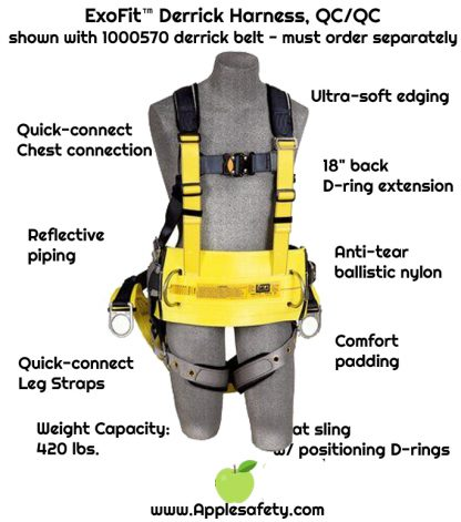 """3M™ DBI-SALA® ExoFit™ Derrick Harness, Vest style, back D-ring with 18"""" extension, belt with back pad & back D-ring, soft seat sling with positioning D-rings, tongue buckle connections at shoulder for 1000570 derrick belt, 1100300 1100301 1100302 1100303, chart"""