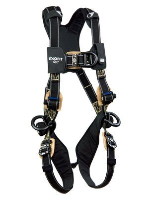 3M™ DBI-SALA® ExoFit NEX™ Arc Flash Positioning/Climbing Harness, Nomex®/Kevlar® fiber web, PVC coated alumninum front, back & side D-rings, locking quick connect buckles, comfort padding, 1113330 1113331 1113332 1113333, front