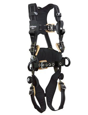 3M™ DBI-SALA® ExoFit NEX™ Arc Flash Construction Style Positioning/Rescue Harness, Nomex®/Kevlar® fiber web, dorsal web loop & front rescue loops & PVC coated side D-rings, locking quick connect buckles, sewn in hip pad & belt, comfort padding, 1113320 1113321 1113322 1113323, front 2