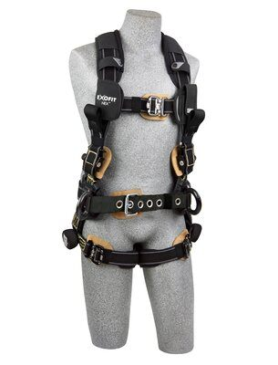 3M™ DBI-SALA® ExoFit NEX™ Arc Flash Construction Style Positioning/Rescue Harness, Nomex®/Kevlar® fiber web, dorsal web loop & front rescue loops & PVC coated side D-rings, locking quick connect buckles, sewn in hip pad & belt, comfort padding, 1113320 1113321 1113322 1113323, front