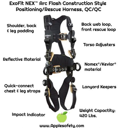 3M™ DBI-SALA® ExoFit NEX™ Arc Flash Construction Style Positioning/Rescue Harness, Nomex®/Kevlar® fiber web, dorsal web loop & front rescue loops & PVC coated side D-rings, locking quick connect buckles, sewn in hip pad & belt, comfort padding, 1113320 1113321 1113322 1113323, front chart 2