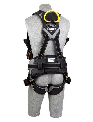 3M™ DBI-SALA® ExoFit NEX™ Arc Flash Construction Style Positioning/Rescue Harness, Nomex®/Kevlar® fiber web, dorsal web loop & front rescue loops & PVC coated side D-rings, locking quick connect buckles, sewn in hip pad & belt, comfort padding, 1113320 1113321 1113322 1113323, rear