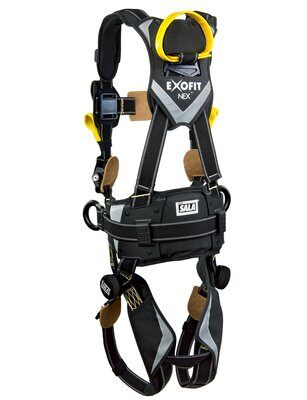 3M™ DBI-SALA® ExoFit NEX™ Arc Flash Construction Style Positioning/Rescue Harness, Nomex®/Kevlar® fiber web, dorsal web loop & front rescue loops & PVC coated side D-rings, locking quick connect buckles, sewn in hip pad & belt, comfort padding, 1113320 1113321 1113322 1113323, rear 2