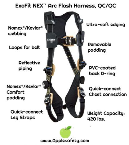 ExoFit NEX™ Arc Flash Harness, QC/QC, Nomex®/Kevlar® fiber web, PVC coated aluminum back D-ring, locking quick-connect buckles, comfort padding, 1103085 1103086 1103087 1103088, front chart