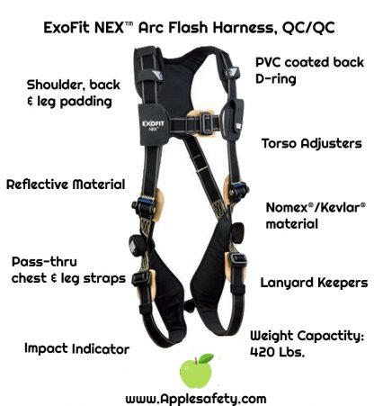 3M™ DBI-SALA® ExoFit NEX™ Arc Flash Harness, Nomex®/Kevlar® fiber web, PVC coated alumninum back D-ring, coated pass-thru buckles, comfort padding, 1113335 1113336 1113337 1113338, front chart