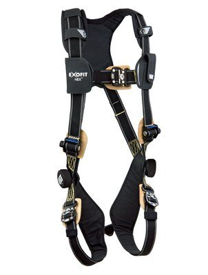 ExoFit NEX™ Arc Flash Harness, QC/QC, Nomex®/Kevlar® fiber web, PVC coated aluminum back D-ring, locking quick-connect buckles, comfort padding, 1103085 1103086 1103087 1103088, front