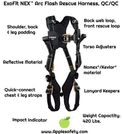 3M™ DBI-SALA® ExoFit NEX™ Arc Flash Rescue Harness, Nomex®/Kevlar® fiber web, dorsal web loop & front rescue loops, locking quick connect buckles, comfort padding, 1113325 1113326 1113327 1113328, front chart 2
