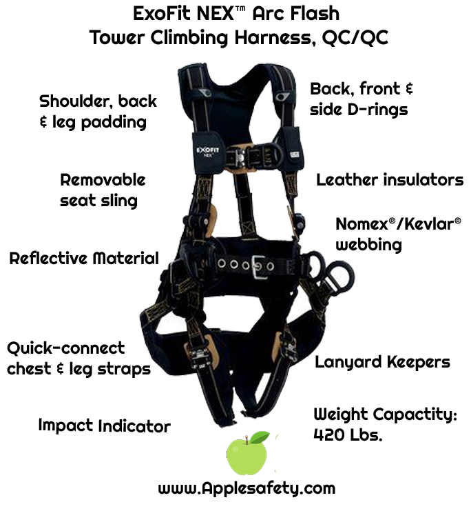 ExoFit NEX™ Arc Flash Tower Climbing Harness, QC/QC, PVC coated aluminum back and front D-rings, belt with pad and PVC coated aluminum side D-rings, seat sling with PVC coated suspension D-rings, Nomex®/Kevlar® fiber webbing and comfort padding, locking quick connect buckle leg straps, 1113357 1113358 1113368 1113369, front chart